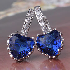 Sparkly18K White Gold Filled Royal Blue Crystal Heart Swarovski Elements
