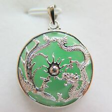 New Good 925 Sterling Silver Dragon & Phoenix Round Jade Pendant 34mm H