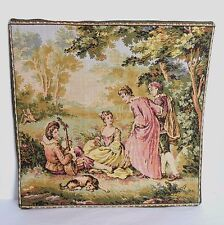 "Gobelin Belgium Romantic Pastoral Tapestry 9 1/2"" Square Finished Mat Wall Decor"