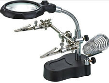LED Magnifying Glass Magnifier Soldering Iron/Station Stand Helping Hand Clip