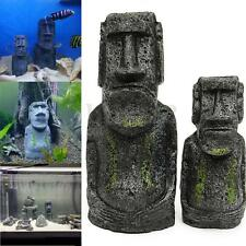 2pcs Easter Island Statue Aquarium Ornament Fish Tank Rock with Face Heads Decor