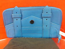 NWT PROENZA SCHOULER BLUE TEXTURE LEATHER PS1 LARGE ZIP CLUTCH WALLET $685