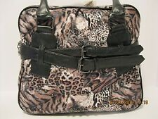 Purse Black White Cheetah Leopard Print Compartment Square Shoulder Bag NWT G581