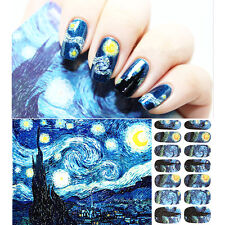 Starry Night Romantic Nail Wraps Art Stickers for French Manicure
