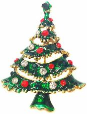 GOLD CRYSTAL Smaltato Natale Xmas Tree SPILLA PIN BADGE Regalo Gioielli