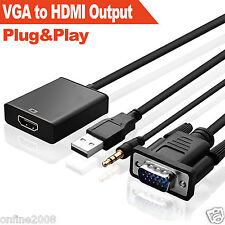 NEW VGA Male To HDMI Output 1080P HD+ Audio TV AV Video Cable Converter Adapter