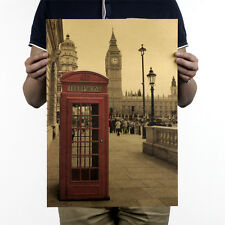 London Red Phone Booth Vintage Room Bar Decor Painting Kraft Paper Retro Poster