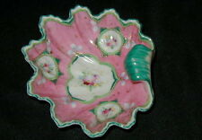 UNUSUAL OLD JAPANESE? PORCELAIN NAPPY, DISH w BOLD PINK & GREEN, MEDALLIONS !!