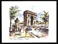 "VINTAGE 1960 ""L'ARC DE TRIUMPHE"" PARIS, FRANCE WATER COLOR ART PRINT BY ARNO"