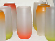 Vtg Set (7) West Virginia BLENDO FROSTED GLASS TUMBLERS Red/Yellow/Orange/Green