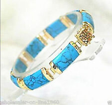 Natural Blue Turquoise 18K Gold Plated Fortune Clasp Link Bracelet
