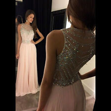 Sexy Sheath Evening Dresses Long Chiffon Beading Party Prom Pageant Formal Gowns