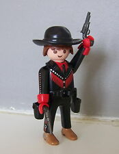 PLAYMOBIL (B4143) WESTERN - Le COWBOY en COSTUME NOIR & FRANGES ROUGES