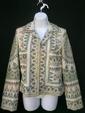 """Biya Johnny Was Embroidered Multicolor Silk Jacket S Asian Inspired """"STUNNING"""""""