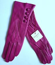 DENT WOMENS FUSCHIA/FUSHIA PINK LEATHER GLOVES/SILK LINED/SIZE 7/MEDIUM/NEW