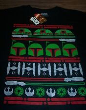 FUNNY STAR WARS R2D2 BOBA FETT TIE FIGHTER CHRISTMAS SWEATER T-Shirt SMALL NEW