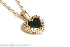 "9ct Gold Sapphire Heart Pendant and 18"" Chain Made in UK Gift Boxed"