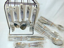 21 PC Flatware SET Western Lodge Theme Stainless w counter stand hanging