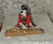 Vintage Hakata Urasaki Geisha Girl Doll Playing Instrument- Rare Red Kimono -2pc