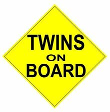 """Twins on Board Magnet - Reflective Car Magnet - 7.5""""x7.5"""" Magnetic car sign."""