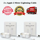 2 x 100% OEM 2M Lightning USB Cable 6FT iPhone 6s Plus 6 Data Sync Charger Box
