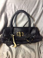 "Luella Black Leather ""Stevie"" Shoulder Bag w/ Double Straps & Gold Hardware"