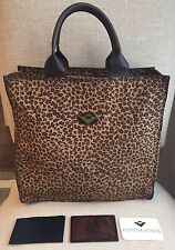 BOTTEGA VENETA Animal Leopard Print Nylon Shoulder Tote Bag Satchel & Mirror