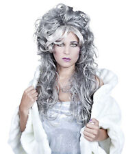 LADIES LONG GREY GHOST WIG  HALLOWEEN FROZEN FANCY DRESS ICE QUEEN COSTUME NEW