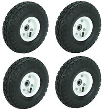"NEW 4 TIRE SET 10"" STEEL AIR PNEUMATIC HAND TRUCK DOLLY WAGON INDUSTRIAL WHEEL"