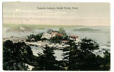 Stony Creek Conn CT -HOUSE ON TIMBLE ISLAND- Handcolored Postcard