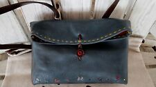 Henry Cuir Beguelin New Blue Grey Leather Embroider Cross body Shoulder Bag