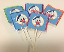 12 BABY DONALD DUCK LOLLIPOPS CANDY FOR PARTY FAVORS