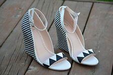 Madison By Shoe Dazzle Wedge Heel Black & White Never worn Size 8.5