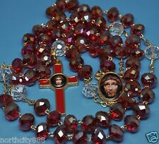 Precious Blood of Christ Rosary Necklace Rosario Preciosa Sangre de Cristo