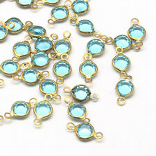 Glass Links Connectors Aquamarine March Birthstone Charms Bronze 10 pieces Bezel