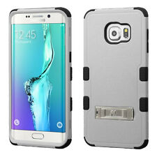 GRAY BLACK TUFF STAND RUBBERIZED CASE COVER FOR Samsung Galaxy S6 Edge+ Plus