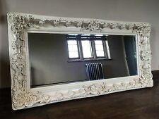 LARGE HUGE WOOD ANTIQUE WHITE DRESS FRENCH CHIC IVORY LEANER MIRROR  7FT