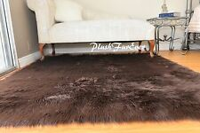 "60"" x 72"" Chocolate Brown Rectangle Bearskin Grizzle Furry Shaggy Home Rug Decor"