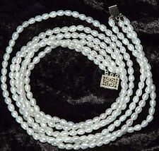 "Genuine Oval Pearl 3-Strand Necklace 18"" Vintage Sterling Silver Box Clasp #521"
