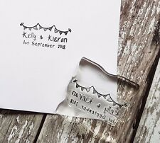 PERSONALISED SAVE THE DATE RUBBER STAMP WEDDING ENGAGEMENT CELEBRATION BUNTING