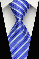 PRICED TO CLEAR!! Mens Classic Double Stripe Silk Necktie Formal Tie Blue White