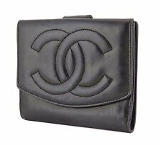 Auth CHANEL Black Lambskin CC Logo Double Snap Bifold Wallet Coin Purse #19184