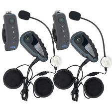 2x V8 1200M Bluetooth Intercom Motorcycle Helmet Interphone Headset for 5 riders