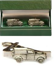Land Rover Defender Cufflinks & Tie Clip Bar Slide Mens Gift Set Series1 Present