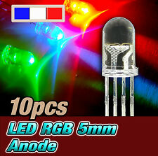 718# LED RGB rouge vert bleu 5mm anode commune 10pcs