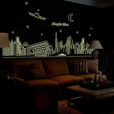 Removable City Night Silhouette Fluorescent Wall Sticker Decal Mural Home Decor