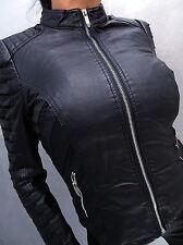 NEU 2017 LEDER OPTIK SCHWARZ LEATHER LOOK Damen Jacke Mantel Q20 Blazer Coat M