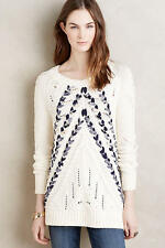 NEW ANTHROPOLOGIE $158 RIBBONED CABLES PULLOVER SWEATER BY KNITTED KNOTTED SZ XL