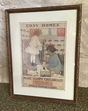 American Radiators & Ideal Boilers Jessie Willcox Smith Ad 'Cosy Homes' Framed