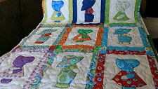 Handcrafted Applique Sunbonnet Sue Sam Dutch Boy Girl Baby Crib Lap Throw Quilt